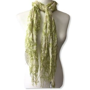Tickled Pink floral print scarf green and white